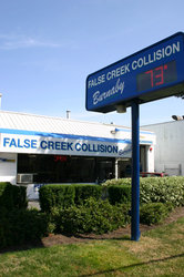 False Creek Collision shop entrance on Royal Oak Ave in Burnaby